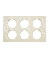 GET Enterprises ML-171-IV Ivory Full Size Tile with Six Cut-Outs for CR-0120 Round Crocks