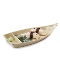 "GET Enterprises 136-TD Japanese Traditional 2-Compartment Boat Plate 10-1/2""x 4-3/4""(1 Dozen)"