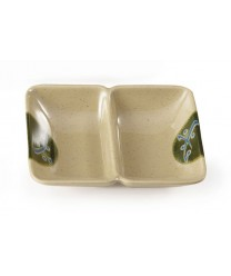 "GET Enterprises 037-TD Japanese Traditional Two Compartment Sauce Dish, 1 oz., 4""x 3""(2 Dozen)"