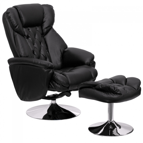 Flash Furniture Transitional Black Leather Recliner and Ottoman with Chrome Base [BT-7807-TRAD-GG]