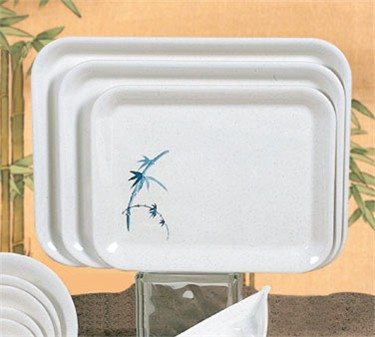 "Thunder Group 0901BB Blue Bamboo Small Oblong Tray 13-1/8"" x 10-1/4"" (1 Dozen)"