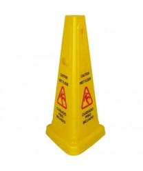 "Winco WCS-27T Tri-Cone Wet Floor Caution Sign, 27"" High"