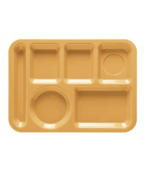 "GET Enterprises TL-152-TY Tropical Yellow Left Hand 6 Compartment ABS School Tray, 10""x 14""(1 Dozen)"