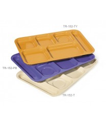 "GET Enterprises TR-152-TY Tropical Yellow Right Hand 6 Compartment ABS School Tray, 10""x 14""(1 Dozen)"