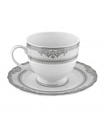 10 Strawberry Street VAN-9P Vanessa Platinum Cup and Saucer Set 8 oz. - Case of 24