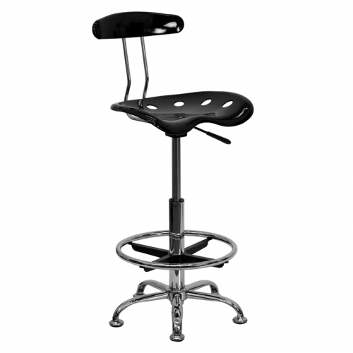 Flash Furniture Vibrant Black and Chrome Drafting Stool with Tractor Seat [LF-215-BLK-GG]