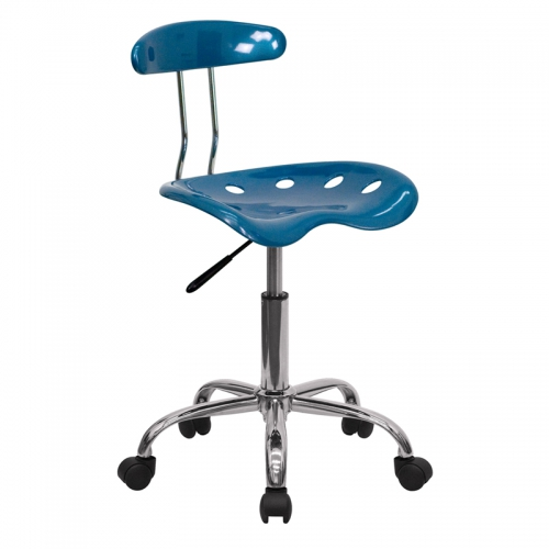 Flash Furniture Vibrant Bright Blue and Chrome Computer Task Chair with Tractor Seat [LF-214-BRIGHTBLUE-GG]