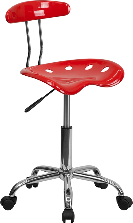 Flash Furniture Vibrant Cherry Tomato and Chrome Computer Task Chair with Tractor Seat [LF-214-CHERRYTOMATO-GG]