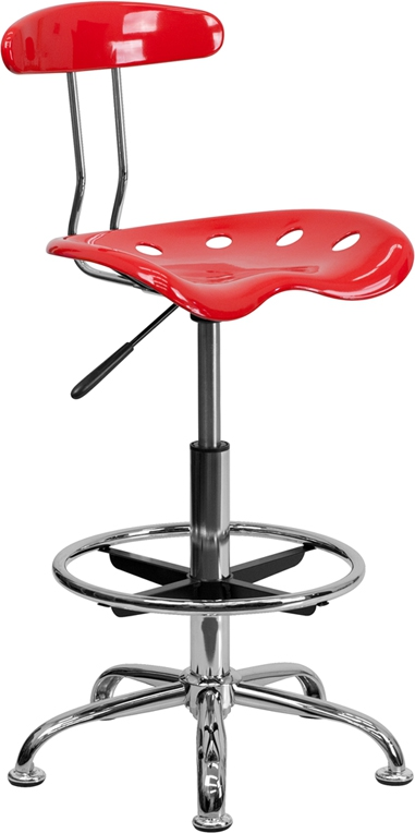 Flash Furniture Vibrant Cherry Tomato and Chrome Drafting Stool with Tractor Seat [LF-215-CHERRYTOMATO-GG]