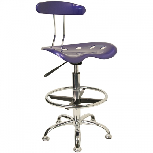 Flash Furniture Vibrant Deep Blue and Chrome Drafting Stool with Tractor Seat [LF-215-DEEPBLUE-GG]