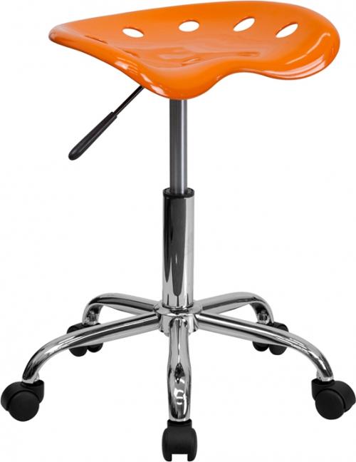 Flash Furniture Vibrant Orange Tractor Seat and Chrome Stool [LF-214A-ORANGEYELLOW-GG]