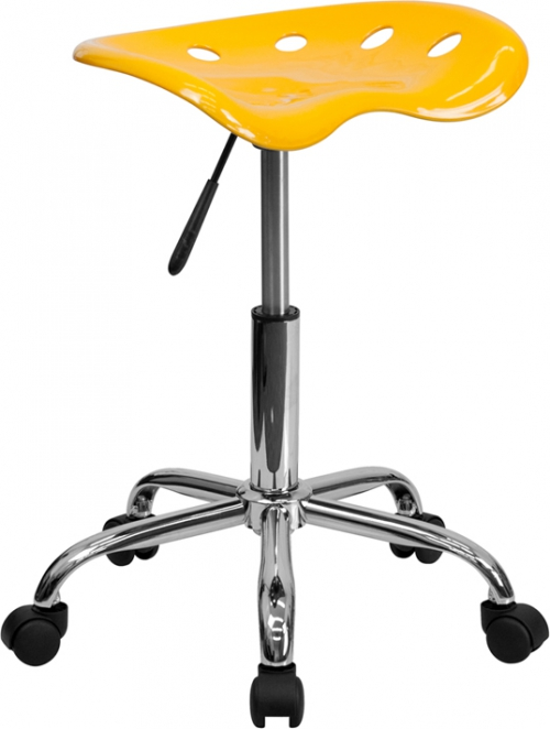 Flash Furniture Vibrant Orange-Yellow Tractor Seat and Chrome Stool [LF-214A-YELLOW-GG]
