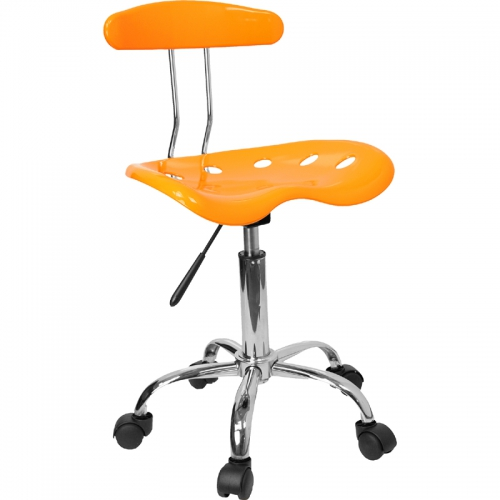 Flash Furniture Vibrant Orange-Yellow and Chrome Computer Task Chair with Tractor Seat [LF-214-YELLOW-GG]