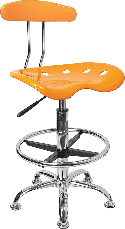Flash Furniture Vibrant Orange-Yellow and Chrome Drafting Stool with Tractor Seat [LF-215-YELLOW-GG]