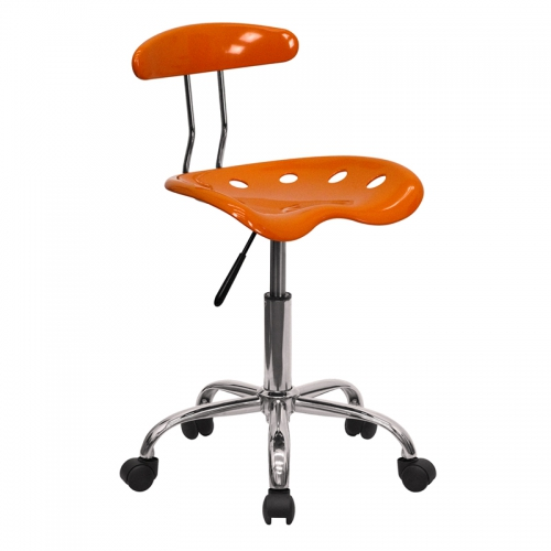 Flash Furniture Vibrant Orange and Chrome Computer Task Chair with Tractor Seat [LF-214-ORANGEYELLOW-GG]