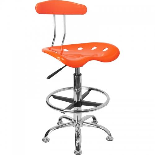 Flash Furniture Vibrant Orange and Chrome Drafting Stool with Tractor Seat [LF-215-ORANGEYELLOW-GG]