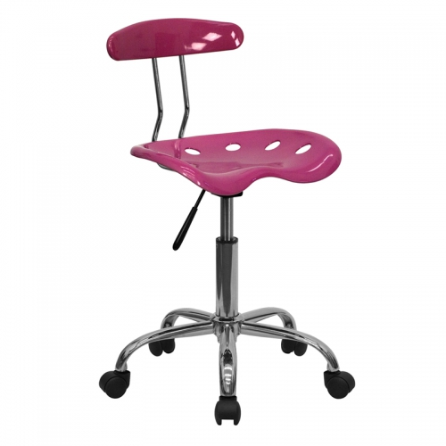 Flash Furniture Vibrant Pink and Chrome Computer Task Chair with Tractor Seat [LF-214-PINK-GG]