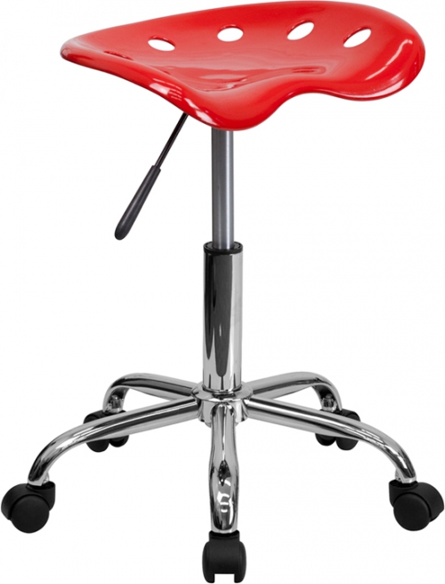 Flash Furniture Vibrant Red Tractor Seat and Chrome Stool [LF-214A-RED-GG]