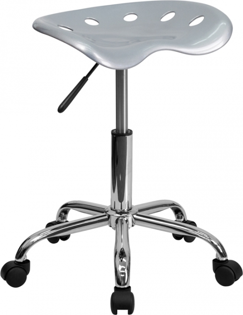 Flash Furniture Vibrant Silver Tractor Seat and Chrome Stool [LF-214A-SILVER-GG]