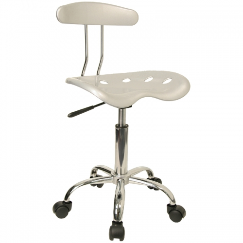 Flash Furniture Vibrant Silver and Chrome Computer Task Chair with Tractor Seat [LF-214-SILVER-GG]