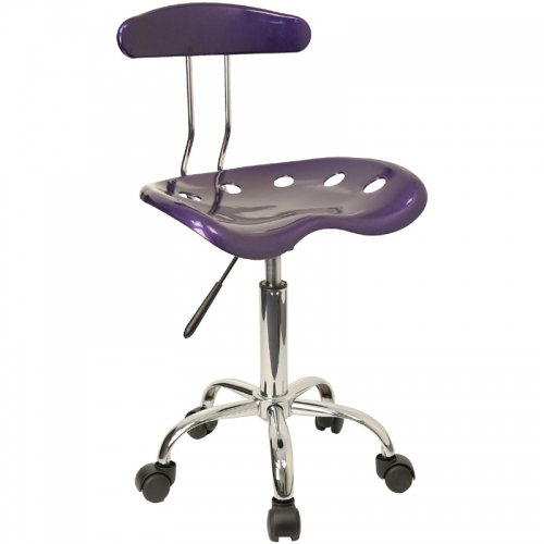Flash Furniture Vibrant Violet and Chrome Computer Task Chair with Tractor Seat [LF-214-VIOLET-GG]