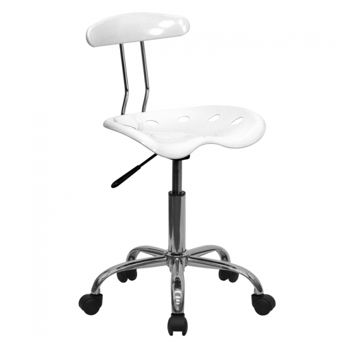 Flash Furniture Vibrant White and Chrome Computer Task Chair with Tractor Seat [LF-214-WHITE-GG]