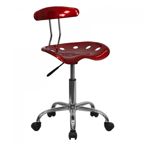Flash Furniture Vibrant Wine Red and Chrome Computer Task Chair with Tractor Seat [LF-214-WINERED-GG]