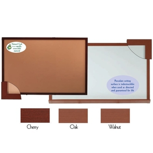 "Aarco 420WWD48192 Architectural High Performance High Gloss White Porcelain Markerboard with Walnut Wood-Look Aluminum Trim  48"" x 192"""