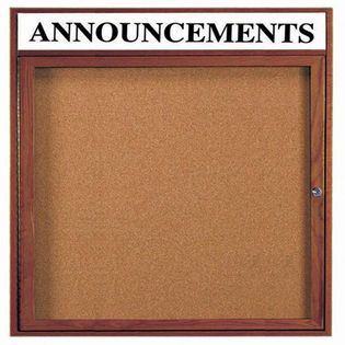 "Aarco WBC3636RH Enclosed Bulletin Board with Walnut Finish 36"" x 36"""