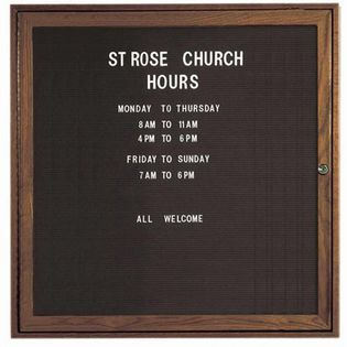 Aarco WDC3636 1 Door Enclosed Changeable Letter Board with Walnut Finish 36