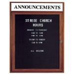Aarco WDC3636H 1 Door Enclosed Changeable Letter Board with Walnut Finish and Header 36