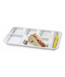 "GET Enterprises TR-152-W White Right Hand 6 Compartment ABS School Tray, 10""x 14""(1 Dozen)"