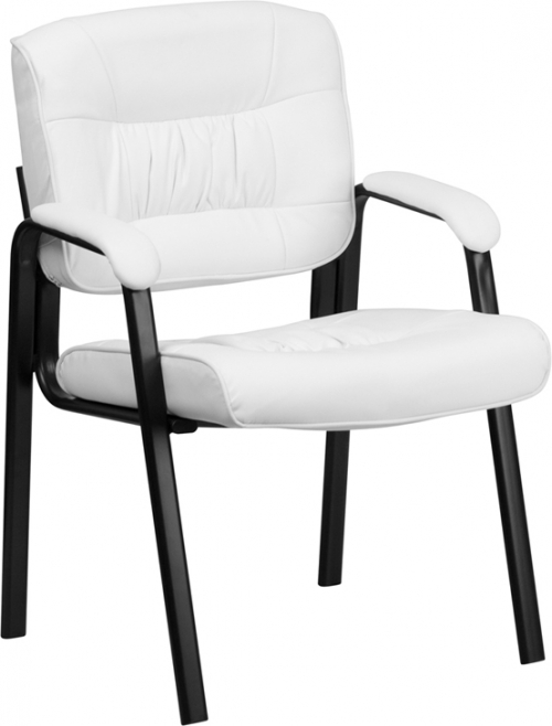 Flash Furniture White Leather Guest / Reception Chair with Black Frame Finish [BT-1404-WH-GG]