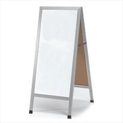 "Aarco AA-35 A-Frame Sidewalk Board White Melamine Markerboard and Aluminum Frame 42""x18"