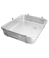 """Winco ALRP-1824L Aluminum Double Roast Pan with Straps and Lugs 18"""" x 24"""""""