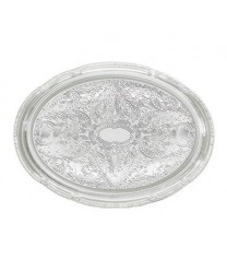 Winco CMT-1014 Chrome Plated Oval Serving Tray, 14-3/4'' x 10''
