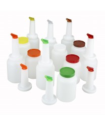 Winco PPB-2MX Liquor and Juice Multi Pour with Spout and Lid, Assorted Colors 2 Qt.