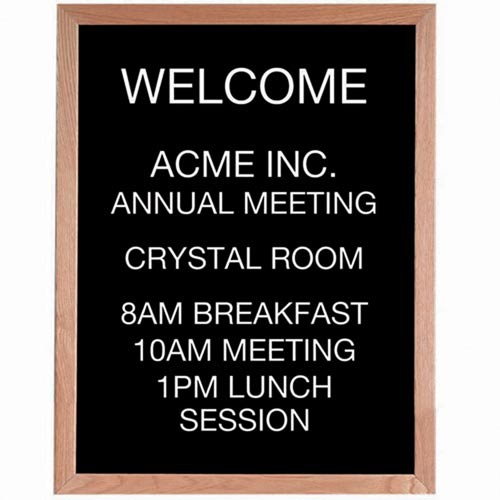 Aarco AOFD3024 Framed Letter Board Message Center with Oak Frame 30