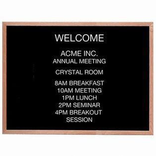 Aarco AOFD3648 Framed Letter Board Message Center with Oak Frame 36