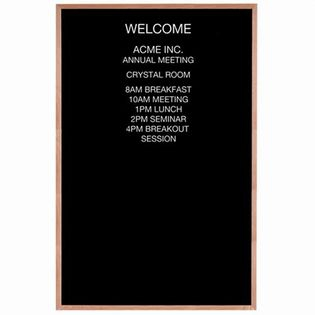 Aarco AOFD7248 Framed Letter Board Message Center with Oak Frame 72