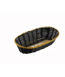 Winco PWBK-9B Oblong Black / Gold Poly Woven Cracker Basket