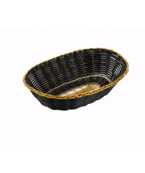 Winco PWBK-9V Oval Black / Gold Poly Woven Basket