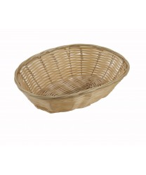 "Winco PWBN-9V Oval Natural Poly Woven Basket 9-1/2"" x 6-1/4"" x 3"""