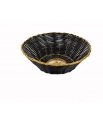 Winco PWBK-8R Round Black / Gold Poly Woven Basket