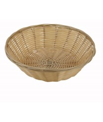 "Winco PWBN-9R Round Natural Poly Woven Basket 9"" x 2-1/2"""