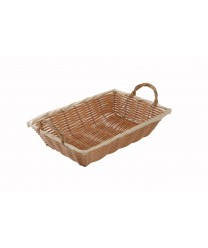"Winco PWBN-12B Natural Oblong Poly Woven Basket with Handles 12"" x 8"" x 3"""