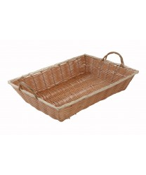"Winco PWBN-16B Natural Oblong Poly Woven Basket with Handles 16""x 11""x 3"""