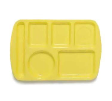 "GET Enterprises TL-151-Y Yellow Melamine Left Hand 6 Compartment Tray, 9 -1/2""x 14-3/4""(1 Dozen)"