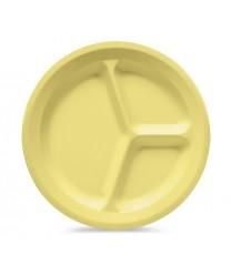"GET Enterprises CP-532-Y Yellow SuperMel Three Compartment Plate, 11""(1 Dozen)"