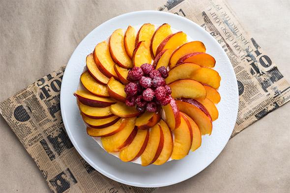Peach and nectarine almond cake